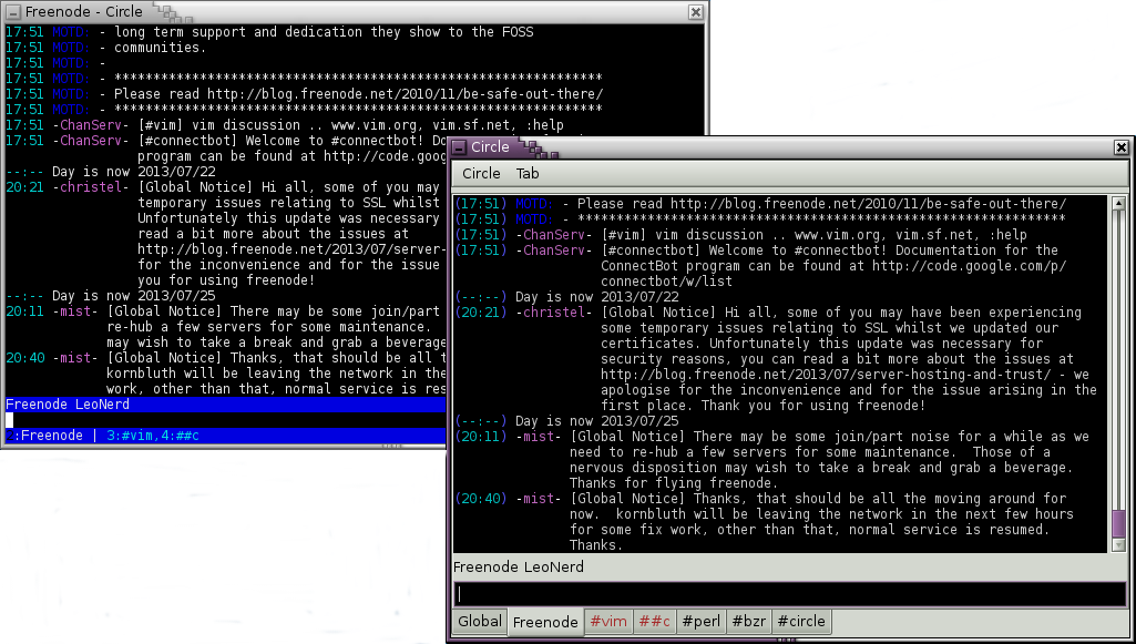 On the left, a terminal window with a Curses front-end of Circle running. On the right, a graphical window running a GTK 2 front-end of Circle. Both window show the same window with IRC connection logs
